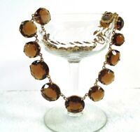 Vintage ART DECO Faceted Amber Glass Graduated Stone Collar Necklace Goldtone
