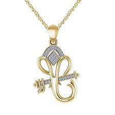 Ganesh Chaturthi Offer 0.12CT Diamond Ganpati Pendant Chain 14k Yellow Gold Over