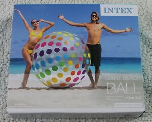 """72"""" INTEX Inflatable SPOTTED Beach Ball GIANT FUN! Vintage Pool Toy 2017 RARE"""