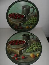 Carver foods Co. Tin Box Green Round Strawberries grapes and metal cup