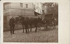 Ostrau, Sachsen, Kutsche mit Pferd vom Landarzt Dr. Emmerich, Foto-Ak von 1918