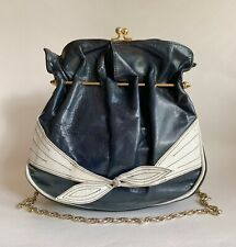 Vintage 1960s Blue White Leather Handbag Shoulder Bag Gold Toned Chain Handle