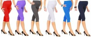 MATERNITY LEGGINGS cropped 3/4 length cotton over bump size 6-20