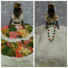 Vintage Topsy Turvy Doll Brazilian Caribbean Carmen Miranda Green Blinking Eyes