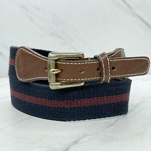 Nordstrom Multicolor Vintage Striped Web Leather Trim Belt Size 32