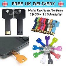 Flash Drive Pen USB 2.0 16/64/128 GB 1TB Metal Key Shape Ultra Memory Storage UK