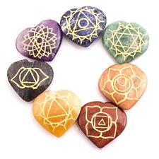 Multi-Stone Heart Karuna Reiki Set 7 Pcs Reiki Healing USUI Feng Shui Gemstone