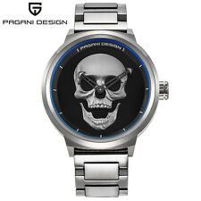 PAGANI DESIGN Mens Solid Stainless Steel Quartz 3D Skull Wrist Watch Cool Gifts