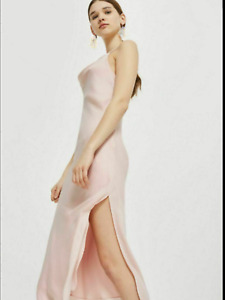 BNWT Topshop Blush Pink Cowl Neck Midi Slip Dress UK 14