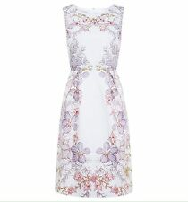HOBBS 'BOTANICAL' WHITE FLORAL DRESS UK 14