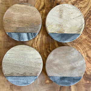 Set of 4 Grey Marble & Mango Wood Coasters - Factory Rejected Stock - 10cmDia