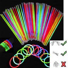"""100 Colores Glow Sticks Pulseras Collares Neo Cotillón Discoteca Rave 8"""" Reino Unido"""