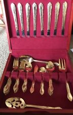 Yellow Gold Tone Flatware for 8 with wood Box No Monograms 45 pcs Stainless GUC