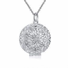 925 Silver Plt Open Victorian Filigree Round Photo Locket Pendant Necklace D