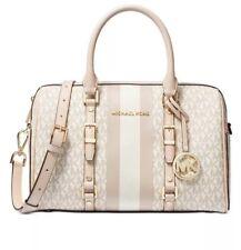 ❤️ Michael Kors Bedford Travel Leather Duffle Vanilla/Soft Pink/Gold Satchel