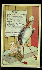 POST CARD  Birth Announcement stork baby basket free shipping