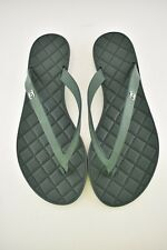 NIB Chanel Green Quilted Suede Leather CC Sport Beach Thong Sandal Flip Flop 36