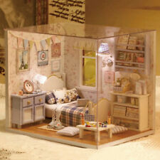 Dollhouse Miniature with Furnitur DIY DollHouse Kit Plus Dust Proof & Lights