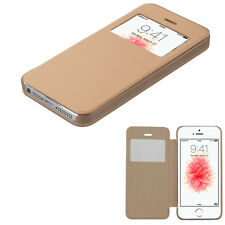 For Apple iPhone SE 5s 5 GOLD Window Leather Flip Wallet Case Cover Slim Thin