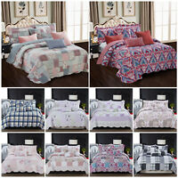 Vintage Patchwork Quilt Bedspread Bed Throw Single Double King Size Bedding Set