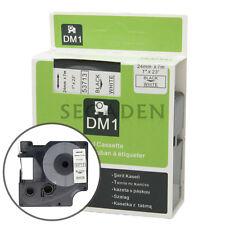 "1pk Black on White Label Tape Fit for DYMO 53713 D1 24mm 1"""