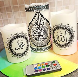 Arabic Calligraphy LED Candle for Home Decor & Gift 3in1 multicoloured LED