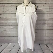 *Abercrombie & Fitch White Solid Button Down Shirt Dress Sz M Collar Sleeveless