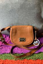 Michael Kors Saddle Tan Crossgrain Leather Mini Flap Snap Shoulder BagCrossbody