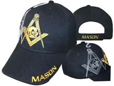 Mason Masonic Freemason IVY (Shadow) Black and Gold Masonic Lodge Ball Cap Hat