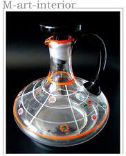 Haida Glas Karaffe Emaille Dekor Bohemian Glass Decanter Böhmen um 1920-1930