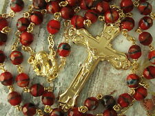 Catholic Rosary RED Glass beads black accents Gold plated Crucifix medal 7mm 23""