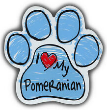 Scribble Paw Dog Magnets: I LOVE MY POMERANIAN | Cars, Trucks, Refrigerators