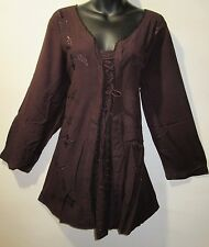 Top Fits 1X 2X Plus Brown Corset Lace Tie Layered Eyelet Lace Long Tunic NWT 660
