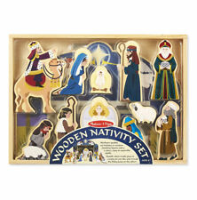 Melissa  Doug Classic Wooden Christmas Nativity Set #3858