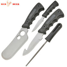 NEW 4 Pc Silver Hunting Knives Butcher Skinning Knife Set Sharpener & Case