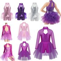 Girls Lyrical Ballet Dance Dress Jazz Sequined Leotard Tutu Skirt Dance Costume