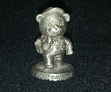 Beautiful vintage 1983 Avon Pewter First Day Back Bear figurine figure