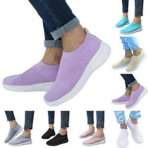 Women's Comfy Sports Mesh Breathable Slip On Flat Fitness Walking Sneakers Shoes
