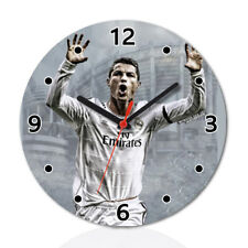 Cristiano Ronaldo Football Wood Clock Home Office Room Decor Gift Round
