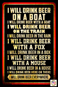 I WILL DRINK! USA MADE METAL SIGN 8X12 FUNNY MAN CAVE BAR GARAGE BEER DRINKING