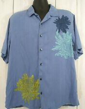 Axis Mens Size Large Button Front blue Floral Short Sleeve 100% Silk shir