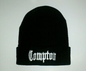 Compton Beanie Cuffed Knit Los Angeles City Black and White Eazy E Long Cap New!