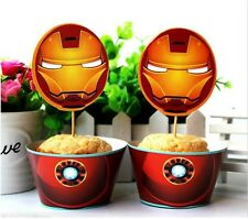 IRON MAN cupcake wrappers and toppers - Pack of 12  **AU SELLER!
