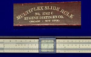 "Antique Dietzgen 1762C Mahogany 20-inch Slide Rule: Rare. ""Reversing"" B scale."