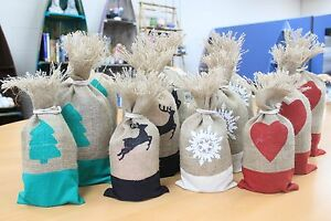 Eco friendly jute bag / pouch choice of design and sizes Christmas / Birthdays