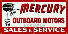 MERCURY OUTBOARD MOTORS VINTAGE SIGN REMAKE OLD SCHOOL BANNER GARAGE ART 2 X 4