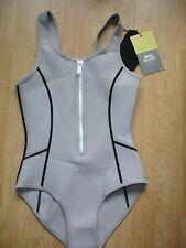 """New Slazenger Neoprene Swimsuit UK/US 30"""" Medium Leg Scoop Back D34 Grey"""
