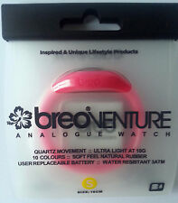 £1.49 BREO VENTURE NEON PINK RUBBER WATCH + FREE BATTERY - SIZE S - 30,000+ F/BK