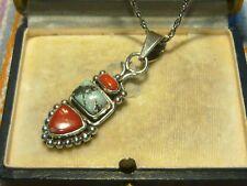 Vintage Orient Tibet Korallen Türkis Silber Anhänger Collier Amulett Talisman