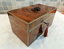 ANTIQUE 19thC FLAME MAHOGANY STATIONERY/LETTERS BOX WITH REMOVABLE DIVIDERS+ KEY